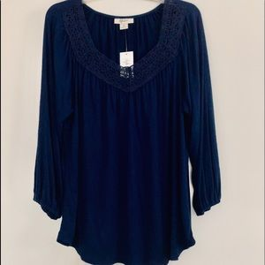 STYLE & CO NWT dark navy Med. Blouse -v neck